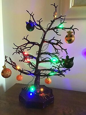 Halloween Led Sparkle Tree With Cats Pumpkins And Spiders 19