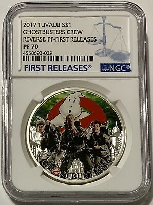 2017 Tuvalu S$1 Ghostbusters Crew Reverse PF First Releases PF70 Coin #2860/5000