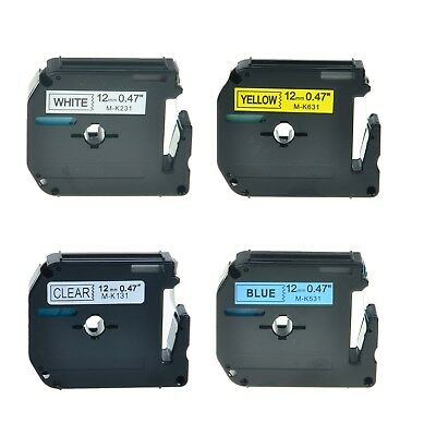 """4PK MK M-K 131 231 531 631 Label Tape Set For Brother P-Touch PT-65VP 1/2"""" 12mm"""