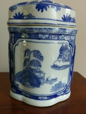Vintage Signed Asian Blue and White Ceramic Tea Jar Pot Lidded Container