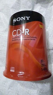 New SONY CD-R 100 Pack Spindle 80 Minutes 700 MB 100CDQ80RS Sealed