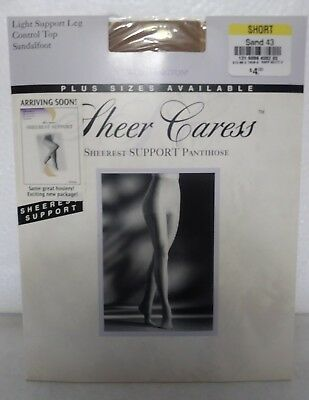 26ced4814 Worthington Sheer Caress Pantyhose Short Sand Sheerest Support Control Top  NEW