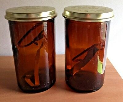 2 Fowlers Vacola Amber Glass No. 31 Bottles with Lids, Spring Clips and Seal