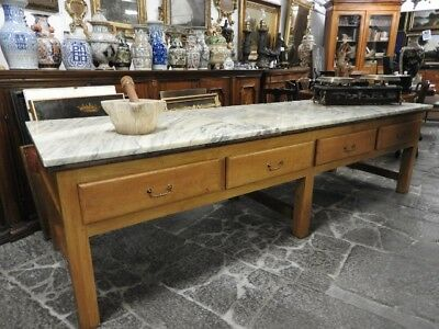 Extraordinary Antique Large Table Counter With Level Marble From Storico