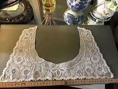 C1900 Superb Lace Beautiful Fine Embroidered antique FRENCH lace Collar