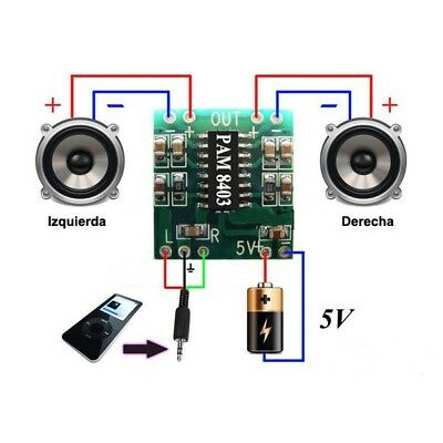 Mini Digital Amplificador de Audio 2,5V - 5V 3W AMP Modulo 5V USB PAM8403