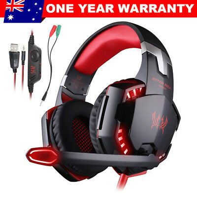 3.5mm Gaming Headset MIC LED Headphones Game for PC Laptop PS4 Xbox One 360 RED
