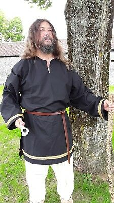 Medieval Style Tunic Top,  Re-enactment Viking, LARP, med -max 44,  Black