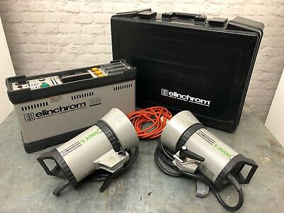Elinchrom flash generator 1500 and 2x S2000 heads and standard dish reflectors