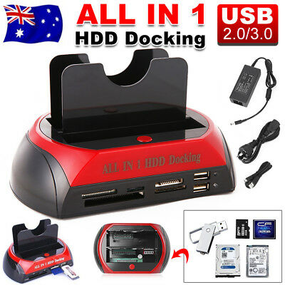 "Dual 2.5"" 3.5"" SATA IDE Hard Disk Drive Dock HDD Docking Station OTB Card Reader"