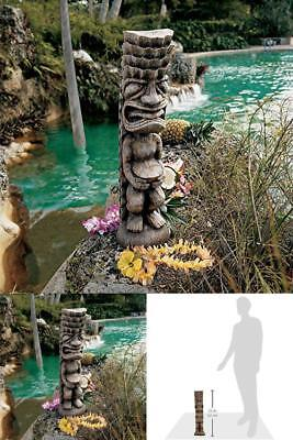 God Of The Luau Tiki Garden Statue In Brown Cast In Wood Grained Designer  Resin