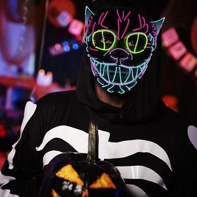 EL Draht Blinkt Cosplay LED MASK Glühende Halloween Tanz Party Glitter Liefert