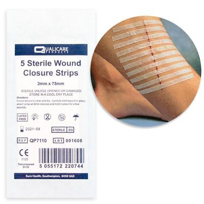 50x Sterile Skin Closure Strips - 10 Packs of 5 x 3mm by 75mm - Butterfly & Cuts