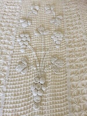 Antique French Cotton Lace Crochet Door/curtain/wall Hanging, Tassels,  Grapes
