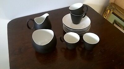 "Raymond Loewy ""Charcoal"", continental china coffee set, jug bowl 4 cups 6 saucer"