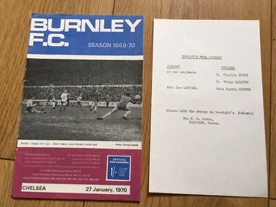 Burnley V Chelsea Fa Cup 1969-70 With Rare Team Sheet Insert