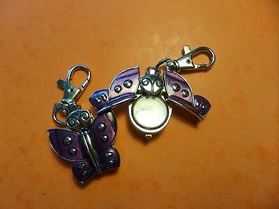 Purple Butterfly Keyring Watch NEW Battery Fitted Before Posting FREE P&P
