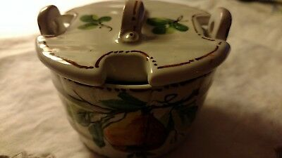 Pottery ITALY Handpainted JELLY JAM MUSTARD POT Spoon Slotted Lid Pear Design