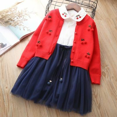 Girls Clothing Children Outfits Sweater Suit Knitted Cardigan Autumn Winter Kids