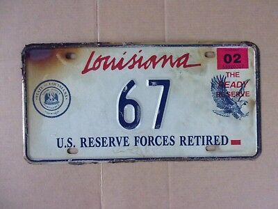 2002 Louisiana Reserve Forces License Plate LOW # 67