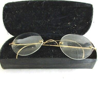 3e516140a0 Pair of Vintage Frameless Glasses with Spring Case - Monogrammed - 1920s- 1930s