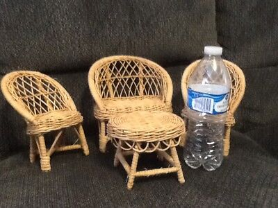 Vintage Wicker Rattan Chairs Table Loveseat Barbie Doll Size Patio Furniture