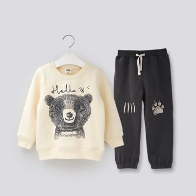 Printed Clothing Autumn Winter Girls Kids Casual Fleece Sports Boys Tracksuit