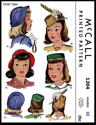 Stunning Summer Hats Unique Millinery Fabric Pattern Vintage 1940's McCALL 1204