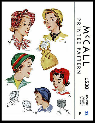 """Hats & Bag Fabric Sewing Pattern McCALL # 1538 Millinery Fascinators 22"""" CHEMO"""