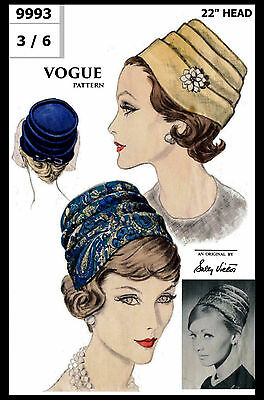"""Hat TURBAN Fabric Sewing Pattern Designer Sally Victor VOGUE 9993 Millinery 22"""""""