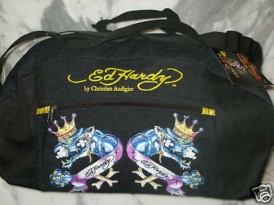 Ed Hardy Double Panther Duffle Bag Christian Audigier 100% AUTHENTIC New 3fe0992ca9