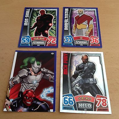 4 Sammelkarten Marvel Avengers topps Hero Attax Trading Card Game Held Schurke