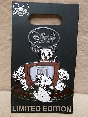 Disney Store Europe Uk 101 Dalmatians With Television Lenticular Pin Le1000 Moc