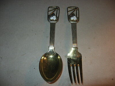 Anton Michelsen Denmark Sterling Silver Annual Christmas Fork & Spoon 1938