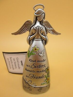 """Ganz Pewter Angel """"God Made Us Sisters Heart Made Us Friends"""" Figurine 3.5"""" Tal"""