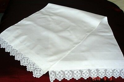 Vintage Irish Linen Bolster Pillowcase Embroidery / Crocheted Lace ~ Pristine