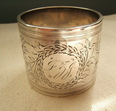 Beautiful Antique Sterling Silver Napkin Ring Beautifully Engraved