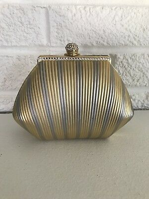 VINTAGE HARMONY ITALIAN DESIGN Metal PURSE Gold Silver Chain