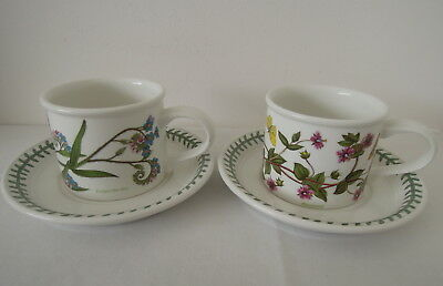 X2 Portmeirion Botanic Garden 1972 Cup and Saucer Pimpernel & Forget-Me-Not