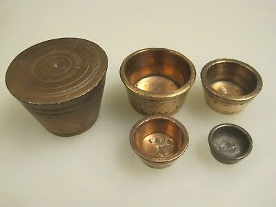 Antique 19th Century 1881 Copper Apothecary Nesting Weight Set B9975