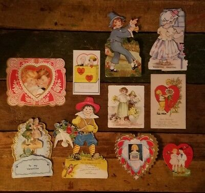 Lot of 10 1920s-30s VALENTINE CARDS Embossed Stand up Vintage Antique