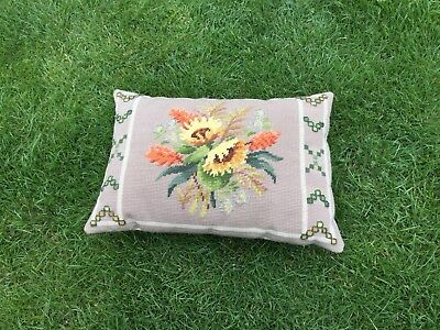 Vintage  Embroidered Floral Hand Stitch Old Tapestry Cushion