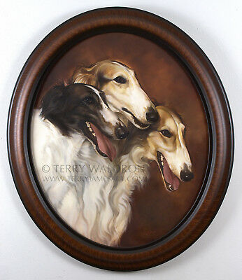 Original Classical Style Dog Oil Painting Borzois by Terry Waldron Signed