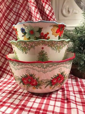 The Pioneer Woman Garland Set Of 3 Christmas Winter Mixing Serving Bowls Htf