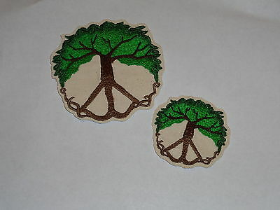 """""""At Peace with Nature"""" Peace Sign & Tree Iron-On Embroidered Patch- 2 Sizes!"""