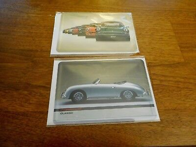 2 Porsche Metal Postcards, Unopened With Envelopes, Showing A 356 / 911 Lineup