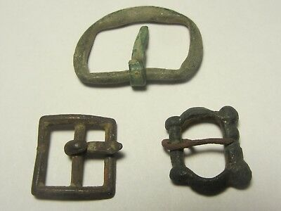 LOT OF 3 AUTHENTIC MEDIEVAL - 1800th BRASS BELT BUCKLES FROM GERMANY