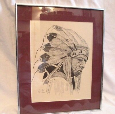 Native American Sioux Indian Chief Print Pencil Signed By Artist # 10/200