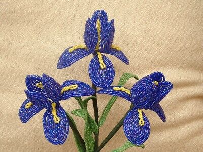 French Beaded Flowers ** 3 Handmade Dark Blue/ Purple Iris's