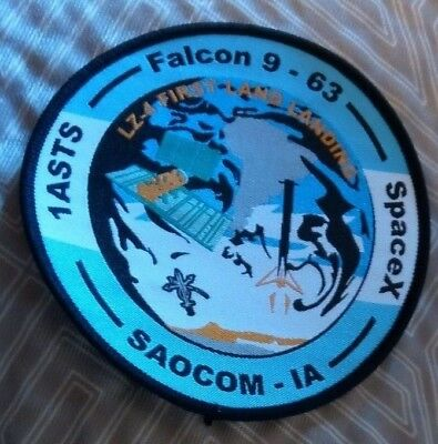 Orig USAF 1ASTS Spacex 1st F9 Land-Landing at LZ-4 -SAOCOM Launch Patch -Tail#63